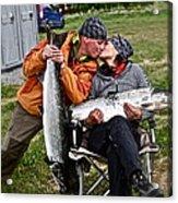 Besame Mucho . Salmon Love Story. Acrylic Print by  Andrzej Goszcz