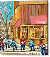 Best Sellers Original Montreal Paintings For Sale Hockey At Beauty's By Carole Spandau Acrylic Print