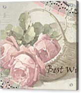 Best Wishes Vintage Roses Card  Acrylic Print