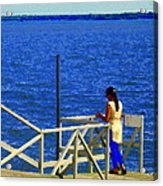 Between Sky And Sea Lachine Canal Viewing Pier Picturesque Water Scenes Montreal Art Carole Spandau Acrylic Print
