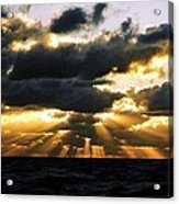 Crepuscular Biblical Rays At Dusk In The Gulf Of Mexico Acrylic Print