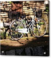 Bicycle And Baskets Kyoto - Philosophers' Walk Acrylic Print