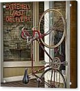 Bicycle Attached To Wall Outside Of Fast Food Restaurant Acrylic Print