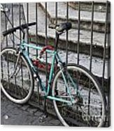 Bicycle Is Chained To A Fence Acrylic Print
