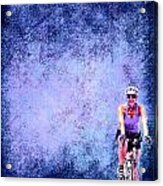 Bicycle Rider On Blue Background Acrylic Print