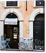Bicycle With Blue Table And Chairs In Roma Acrylic Print
