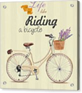 Bicycle With Lavender In Basket. Poster Acrylic Print