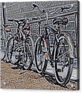 Bicycles On A Rail Acrylic Print