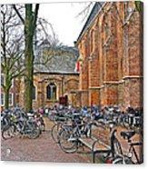 Bicycling To Church Acrylic Print