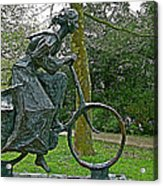 Bicyclist Sculpture In The Park In Leeuwarden-netherlands Acrylic Print