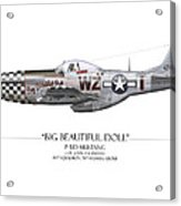Big Beautiful Doll P-51d Mustang - White Background Acrylic Print