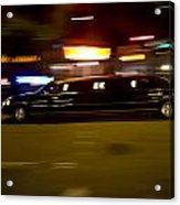 Big Black Limo Cruising Through The City Acrylic Print