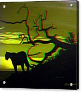 Big Cat Silhouette -  Use Red-cyan 3d Glasses Acrylic Print