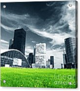 Big City And Green Fresh Meadow Acrylic Print