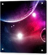 Big Planets and shining stars galaxy in space Acrylic Print