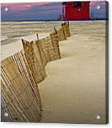 Big Red Lighthouse With Sand Fence At Ottawa Beach Acrylic Print