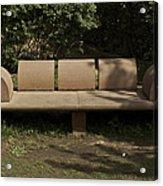 Big Stone Bench Inside The Garden Of 5 Senses Acrylic Print