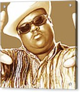 Biggie Smalls Stylised Pop Art Colour Drawing Poster Acrylic Print by Kim Wang