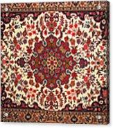 Bijar Red And Khaki Silk Carpet Persian Art Acrylic Print