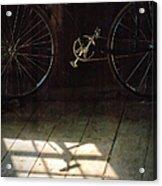 Bike Light And Shadow In Barn Acrylic Print