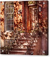 Bike - Ny - Greenwich Village - An Orange Bike  Acrylic Print by Mike Savad