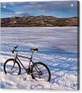 Bike On Frozen Lake Laberge Yukon Canada Acrylic Print