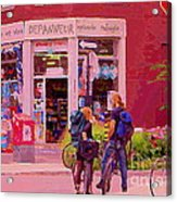 Bikes Backpacks And Cold Beer At The Local Corner Depanneur Montreal Summer City Scene  Acrylic Print