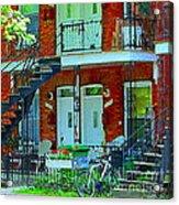 Bikes Balconies Brick Houses Flower Boxes Verdun Duplex Stairs Summer Scenes Carole Spandau Acrylic Print