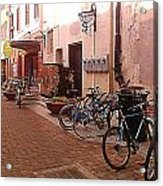 Bikes In Alley Acrylic Print by Emily Clingman