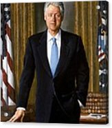 Bill Clinton Portrait Acrylic Print by Tilen Hrovatic