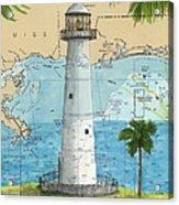 Biloxi Lighthouse Ms Nautical Chart Art Cathy Peek Acrylic Print