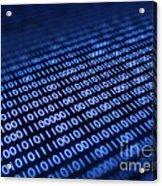 Binary Code On Pixellated Screen Acrylic Print