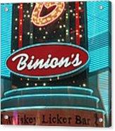 Binions Whiskey Licker Bar Acrylic Print