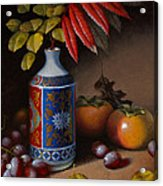 Birch And Sumac With Persimmons Acrylic Print by Timothy Jones