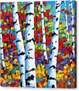 Birches In Abstract By Prankearts Acrylic Print by Richard T Pranke