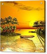Birds In Flight Above A Golden Sunset Acrylic Print