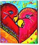 Birds In Love Pop Art Acrylic Print