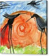 Birds In The Sun. A Black Bird Study 2013 Acrylic Print by Cathy Peterson