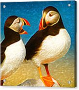 Birdy Gossip Twins Acrylic Print