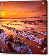 Birling Gap Sunset Acrylic Print by Mark Leader