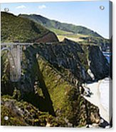 Bixby Bridge Near Big Sur On Highway One In California Acrylic Print by Artist and Photographer Laura Wrede
