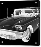 Black And White 1958  Ford Thunderbird  Car Pop Art Acrylic Print