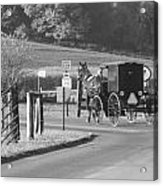 Black And White Amish Horse And Buggy Acrylic Print