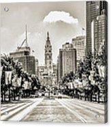 Black And White Benjamin Franklin Parkway Acrylic Print