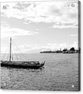 Black And White Boat Acrylic Print