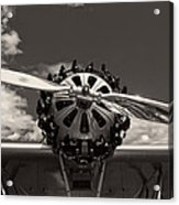 Black And White Close-up Of Airplane Engine Acrylic Print