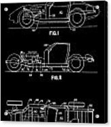 Black And White Corvette Patent Acrylic Print