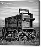 Black And White Covered Wagon Acrylic Print