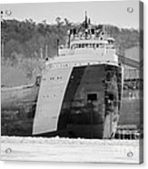 Black And White Freighter Acrylic Print