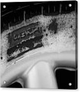 Black And White Mini-cooper Soapy Wheel Acrylic Print